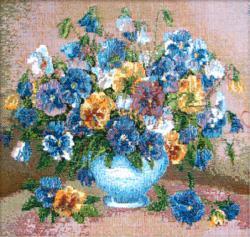 картина, гобелен, цветы, букет, натюрморт, Анютины глазки