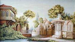 гобелен, картина, замок, город