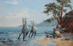 картина, гобелен, животные, птицы, лошади, Бегущие кони