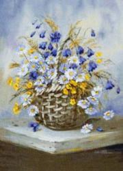 картина, гобелен, цветы, букет, натюрморт, ромашки, Белая корзина
