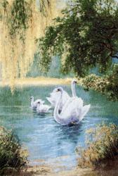 картина, гобелен, животные, птицы, лебеди, Берег левый