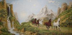 картины, гобелен, животные, птицы, лошади, Быстрее ветра
