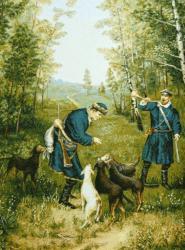 картина, гобелен, охота, Охота на зайцев