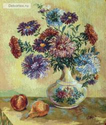 картина, гобелен, цветы, букет, натюрморт, Астры