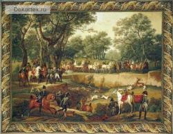 картина, гобелен, Охота на оленя