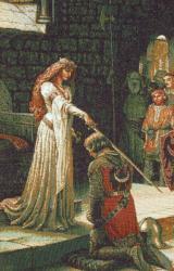 картина, гобелен, дама, рыцарь, девушка, Посвящение в рыцари